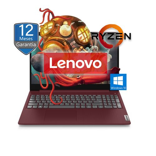 "Lenovo Ideapad 3 15ADA05 15.6"" Ryzen 5 3500U SSD 256GB RAM 8GB Windows 10, Cherry Red"