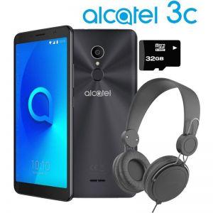 Celular Alcatel 3C 5026-A 16GB + Diadema y Micro sd de 32GB - Negro