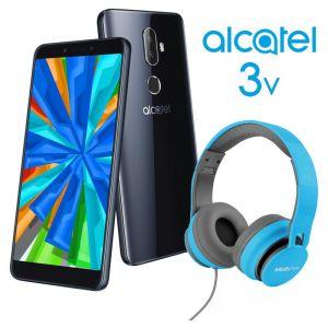 Celular Alcatel 3V 5099-A 16GB + Diadema de regalo - Negro