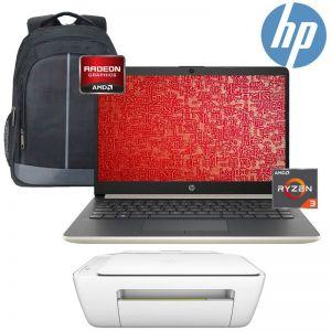 Laptop HP 14-dk0024wm AMD Ryzen3 3200U 4GB 128GB SSD+Mochila e Impresora -Dorado