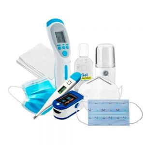 termómetro infrarrojo termómetro digital oxímetro cubrebocas KN95 cubrebocas tricapa termo sellado infantil  Gel antibacterial toallas sanitizantes humificador