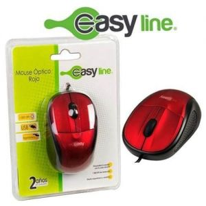 MOUSE OPTICO ALAMBRICO EASY LINE ROJO USB